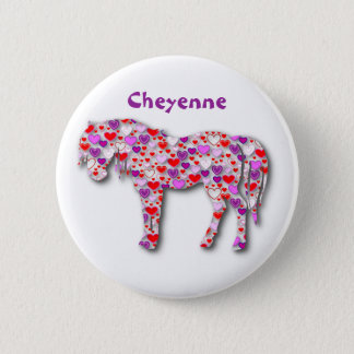 Pin's Rose personnalisé de cheval de coeur - bouton