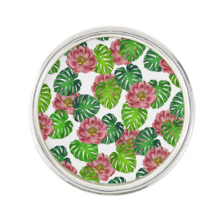 Pin's Roses et motif de feuille de Monstera