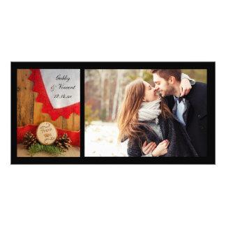 Pins rustiques et photo rouge de Merci de mariage Photocartes Personnalisées