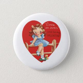 Pin's Saint-Valentin mignonne vintage, fille sur la