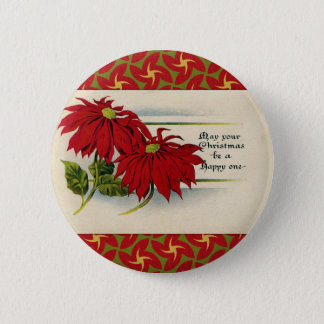Pin's Salutation vintage de poinsettia