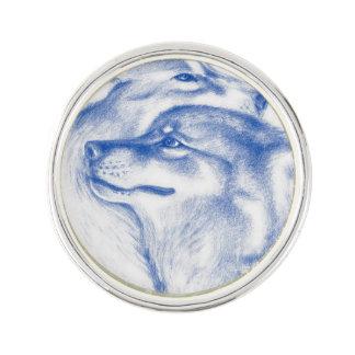 Pin's Se blottissant d'alpha loups bleus