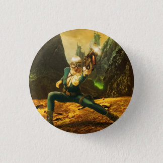 Pin's Soldat féminin de la science fiction battant en