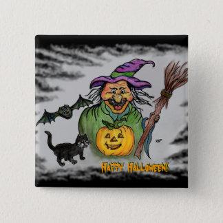 Pin's Sorcière, batte et chat, Halloween heureux !