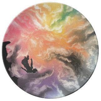 piqué coloré de ciel assiette en porcelaine