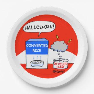 Pique-nique drôle d'église de bande dessinée assiettes en papier