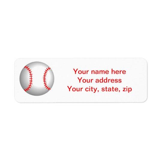Piquer rouge de base-ball blanc étiquette d'adresse retour