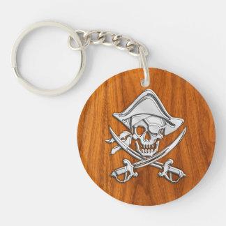 Pirate argenté de chrome sur le décor de placage porte-clé rond en acrylique double face