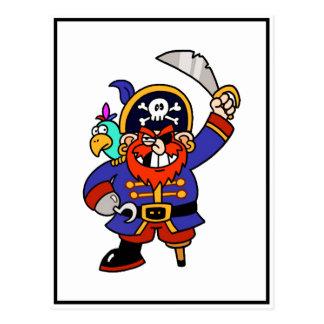 Pirate de bande dessinée avec la jambe et l'épée carte postale