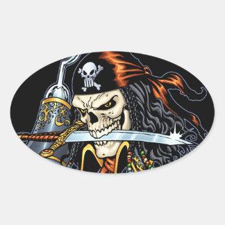 Pirate de crâne avec l'épée et le crochet par Al Sticker Ovale