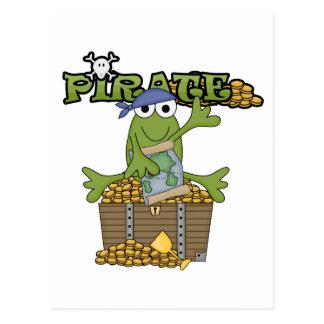Pirate de garçon de grenouille avec des T-shirts Carte Postale