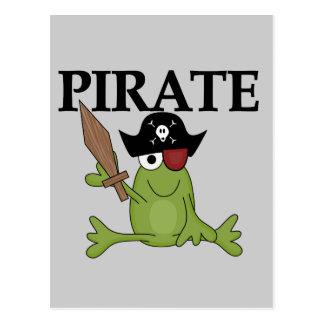 Pirate de grenouille avec des T-shirts et des cade Carte Postale