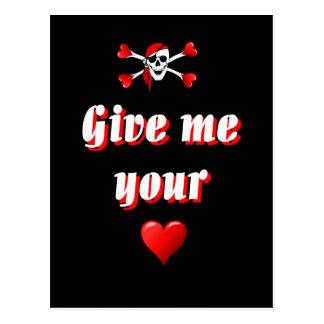 Pirate et coeurs cartes postales