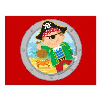 Pirate et crabe carte postale