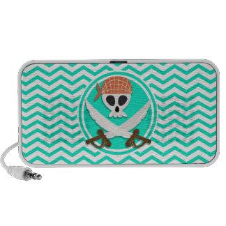 Pirate mignon Aqua Chevron vert Haut-parleur iPhone