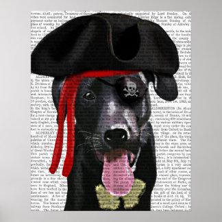 Pirate noir de Labrador Poster