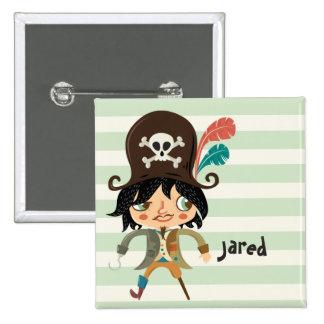 Pirate sur les rayures vertes en pastel badge carré 5 cm