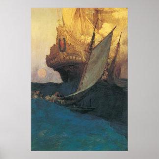 Pirate vintage, attaque sur un galion par Howard Poster