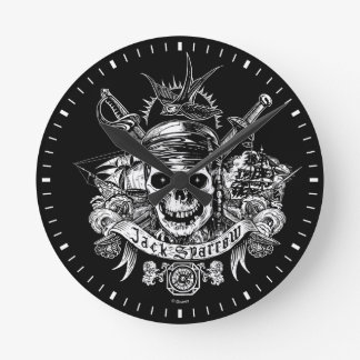 Pirates du crâne des Caraïbes de 5 % pipe% Jack Horloge Ronde