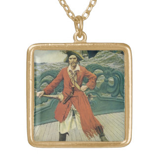 Pirates vintages, capitaine Keitt par Howard Pyle Collier Plaqué Or