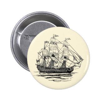 Pirates vintages, croquis d'un bateau d'arme à feu badge rond 5 cm