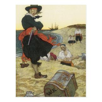 Pirates vintages, William Kidd enterrant le trésor Cartes Postales
