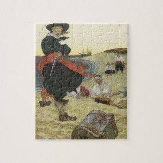 Pirates vintages, William Kidd enterrant le trésor Puzzle