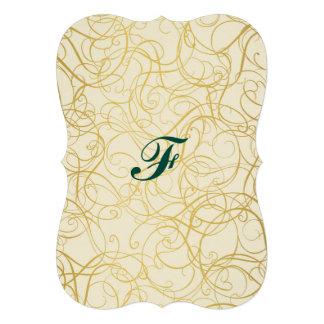 pirouette, or, résumé, onduleux, à la mode, d'or, carton d'invitation  12,7 cm x 17,78 cm
