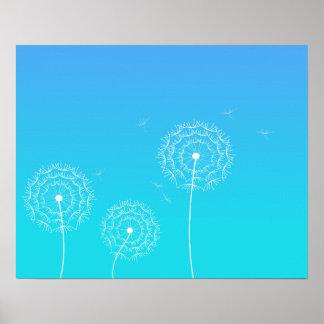 Pissenlit bleu au printemps affiche