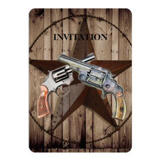 Pistolet de pays occidental de cowboy d'étoile de carton d'invitation  12,7 cm x 17,78 cm