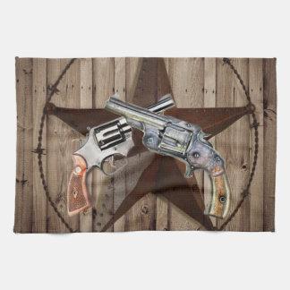 pistolets rustiques de cowboy d'étoile de Texas de Serviettes Pour Les Mains