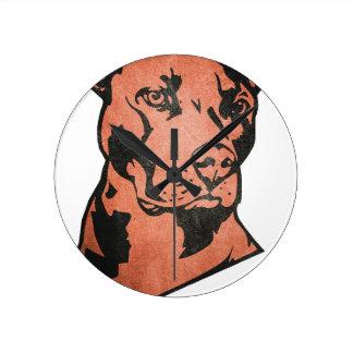 Pitbull chien horloge ronde