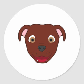 Pitbull rouge sticker rond