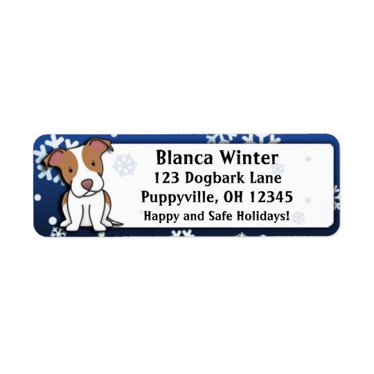 Pitbull Terrier américain de bande dessinée Étiquette D'adresse Retour