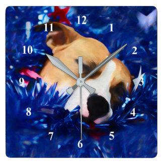 Pitbull Terrier américain de chien patriotique des Horloge Carrée