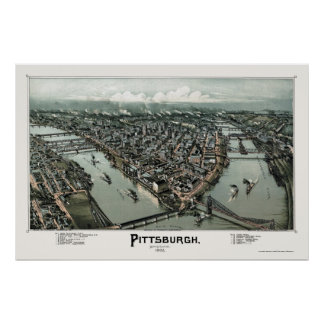 Pittsburgh, carte panoramique de PA - 1902 Posters