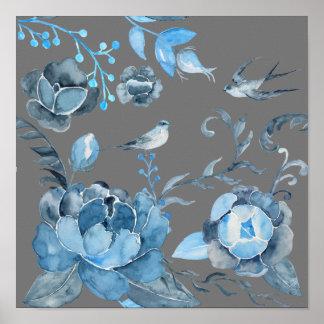Pivoine bleue abstraite et hirondelles affiche
