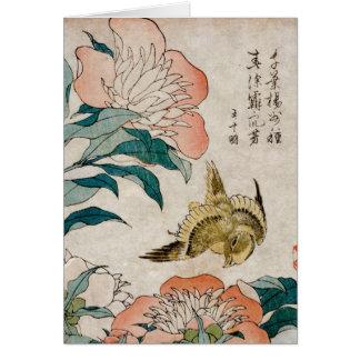 Pivoine et canari - carte vierge d'art japonais