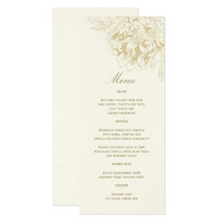 Pivoine florale de mariage de menu d'or en ivoire carton d'invitation  10,16 cm x 23,49 cm