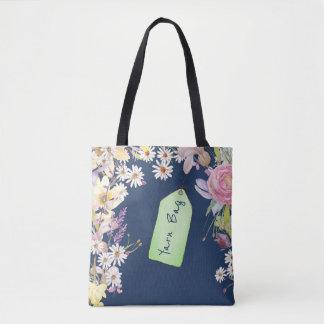 Pivoine florale de marine avec l'étiquette sac