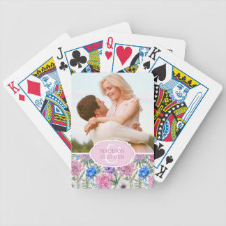 Pivoine florale vintage de l'aquarelle | - photo jeux de cartes