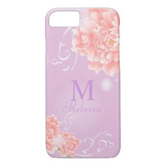 pivoine rose florale d'aquarelle chic girly de coque iPhone 7