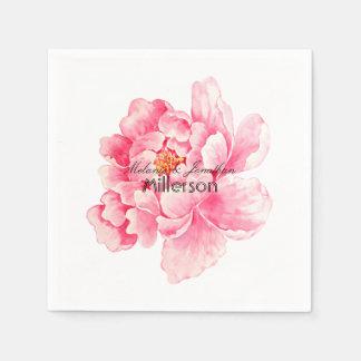 Pivoine rose florale serviette jetable