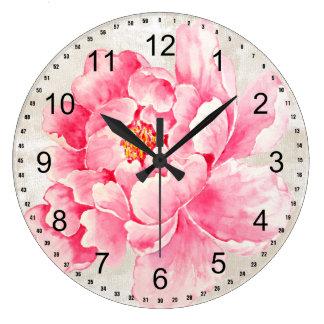 Pivoine rose grande horloge ronde