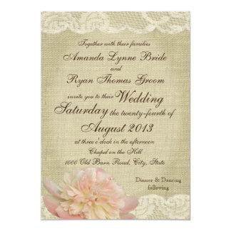 Pivoine vintage et mariage de dentelle carton d'invitation  12,7 cm x 17,78 cm