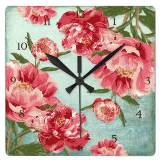 Pivoines assez rétros de chintz de fleur horloge carrée