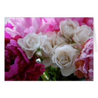Pivoines et roses carte de vœux