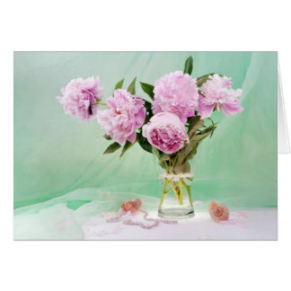 Pivoines roses cartes