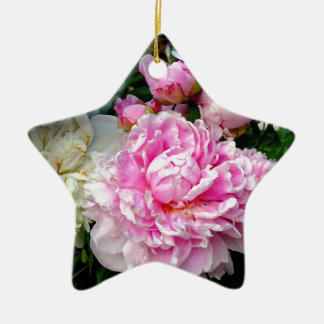 Pivoines roses et blanches ornement étoile en céramique