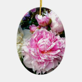 Pivoines roses et blanches ornement ovale en céramique